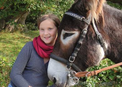 Ein Mädchen schmiegt sich an den Kopf des Esel.